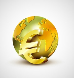 World economic concept with 3d gold world and euro vector