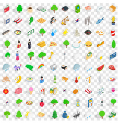 100 south korea icons set isometric 3d style vector