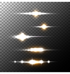 Realistic lens flares beams and flashes on vector image