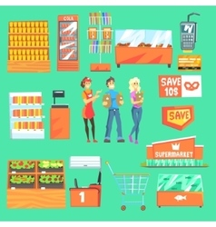 People shopping for groceries in supermarket vector