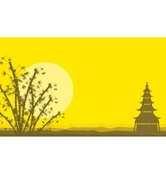 Silhouette of pavilion and bamboo scenery vector