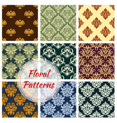 Floral seamless pattern of damask flower ornament vector