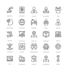 Project management line icons 2 vector