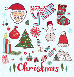 Christmas doodle set new year cute sketches vector