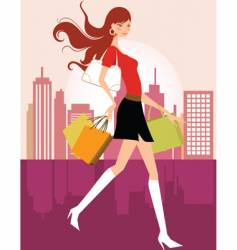 Fashion shopping girl vector
