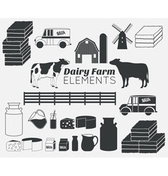 Dairy farm elements vector