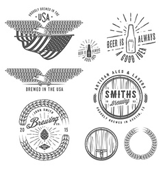 Vintage craft beer brewery design elements vector