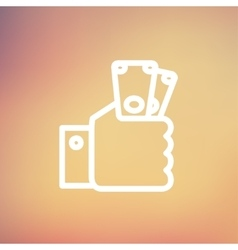 Money in hand thin line icon vector