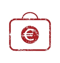 Euro case red grunge icon vector