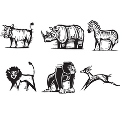 Safari animals print vector