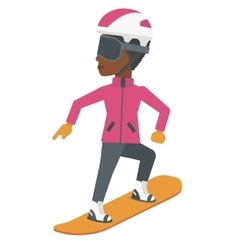 Young woman snowboarding vector