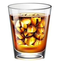 A glass of a distilled spirit drink vector