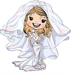 Beautiful fashionable happy girl bride vector