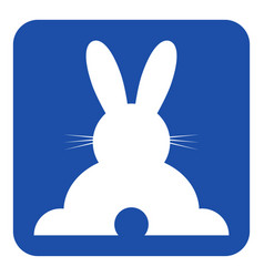 Blue white sign - happy rabbit rear view icon vector