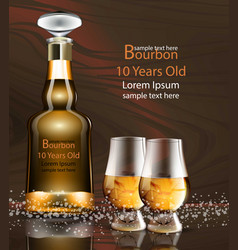 Bourbon bottle and glasses realistic vector