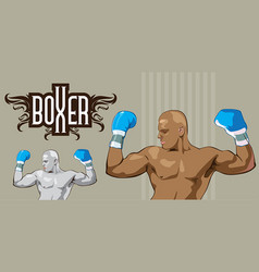boxer in his winning moments black and white colo vector image vector image