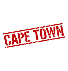 Cape town red square stamp vector