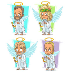 Cartoon angels with nimbus and harp character set vector