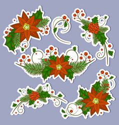 christmas holly berry icon collection vector image