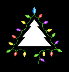 christmas tree garland lights vector image vector image