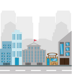 cityscape building with street metropolis vector image vector image