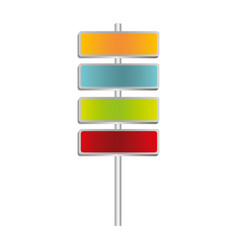 Colorful metallic plaque sign post set vector