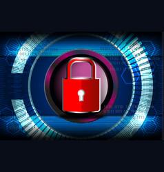 cyber digital red padlock vector image vector image