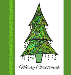 Doodle card with green christmas tree and vector