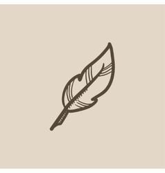 Feather sketch icon vector image vector image