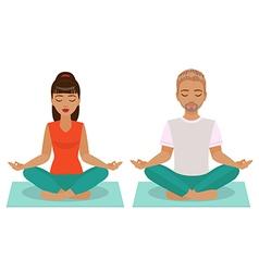 girl and boy yoga vector image