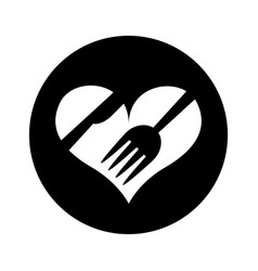 heart with fork and knife vector image