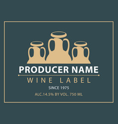 Label for wine with three clay pitchers vector