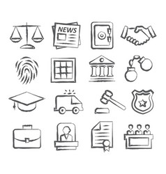 law doodle icons vector image