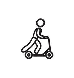 Man riding kick scooter sketch icon vector