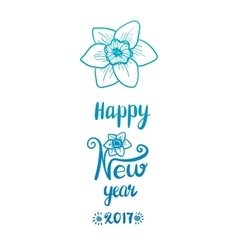 Narcissus flower hand drawn happy new year vector