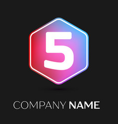 Number five symbol in colorful hexagonal vector
