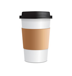 paper coffee cup 3d realistic coffee cup vector image vector image