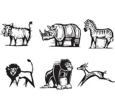 safari animals print vector image