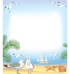 Sea beach frame vector image