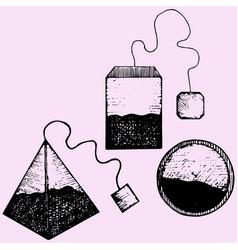 Set teabag with label vector
