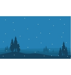 Silhouette of spruce and snow scenery vector image
