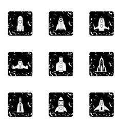 Types of rocket icons set grunge style vector image