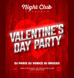 valentines day party poster template vector image vector image