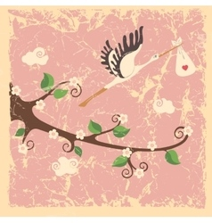 Vintage cartoon flowering branch stork newborn vector