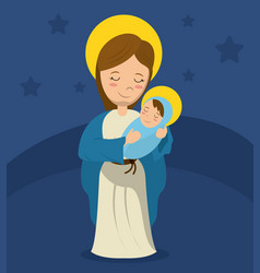 Virgin mary and child jesus blue bakcground vector