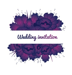 Wedding invitation with purple flowers vector