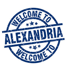 welcome to alexandria blue stamp vector image vector image