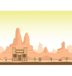 Wild old west canyon background with post vector