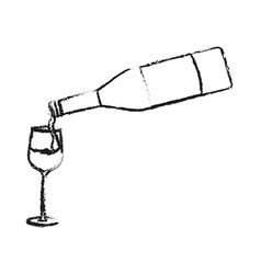 Wine bottle pouring on glass icon imag vector