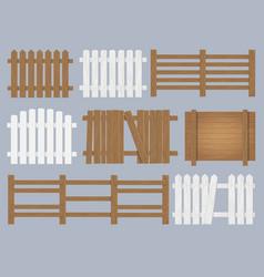 wooden fence set vector image